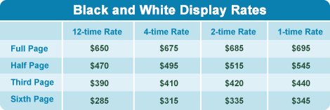 black and white display rates