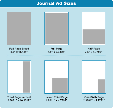 journal ad sizes