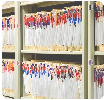 dental files on shelf