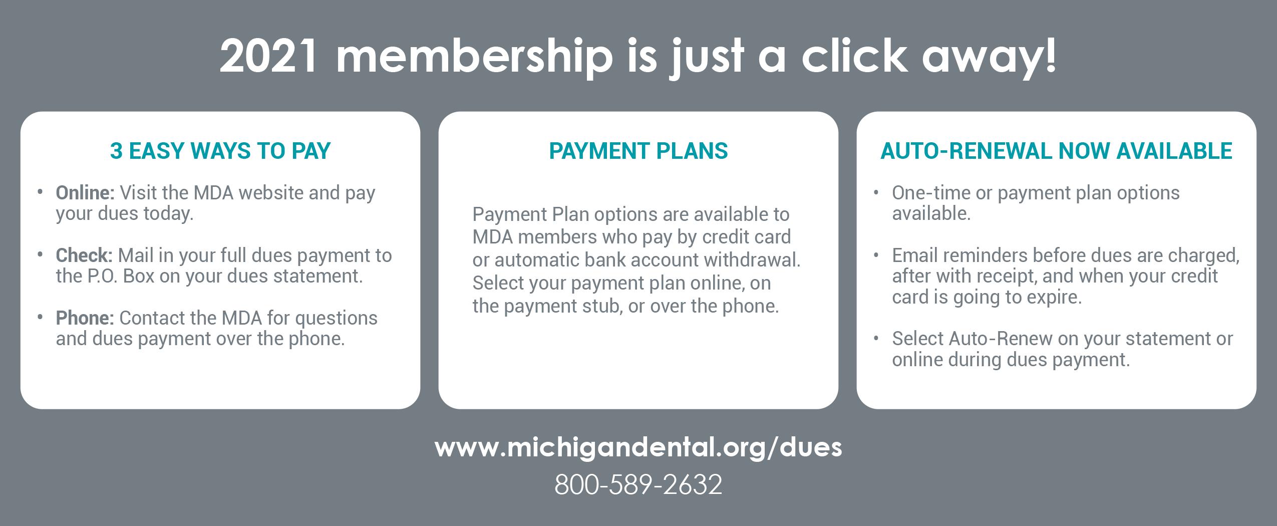 MDA Membership Payment Options Chart